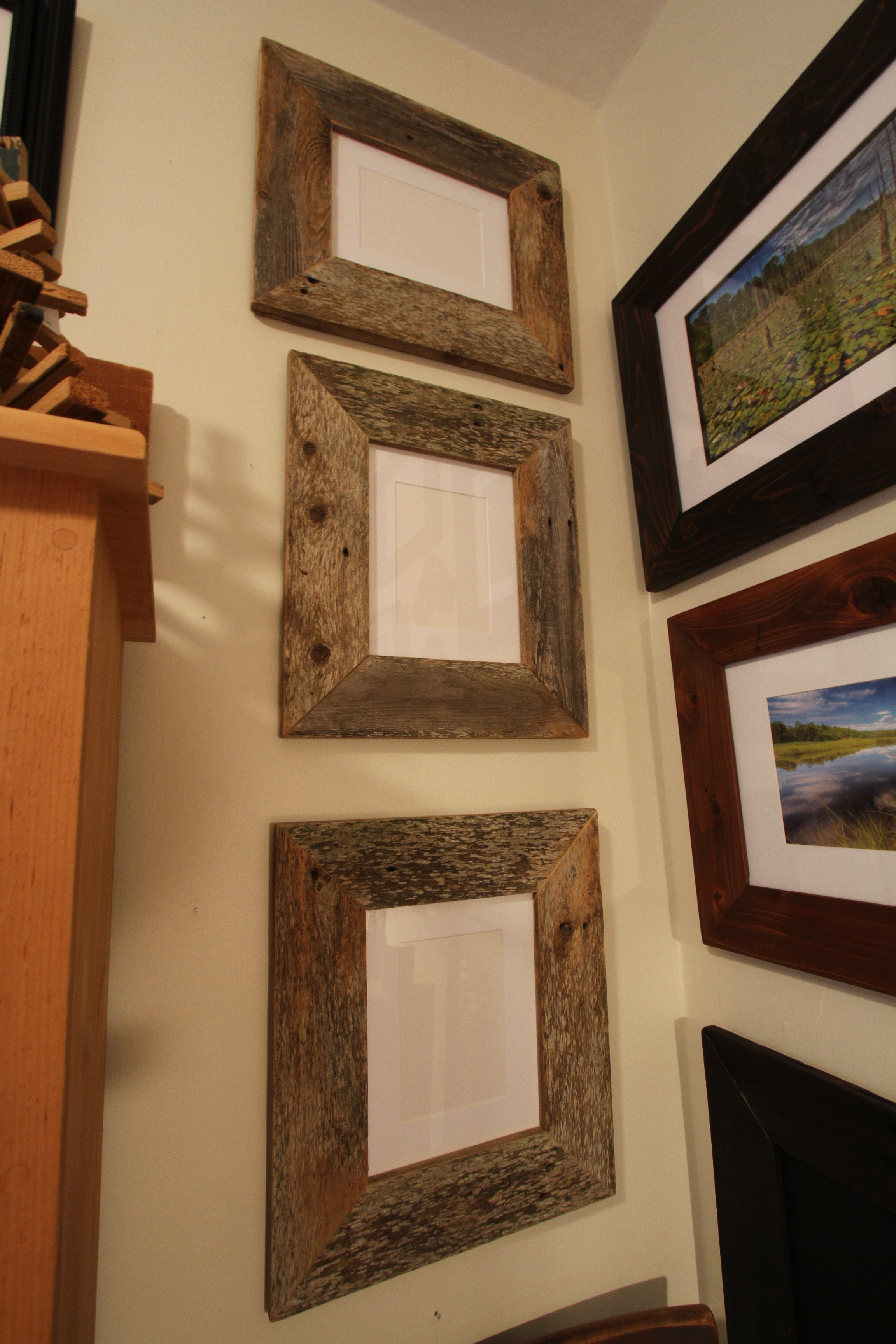 Pre made cedar frames reclaimed llc three reclaimed cedar frames ready to be packed up and shipped ben wurst jeuxipadfo Gallery