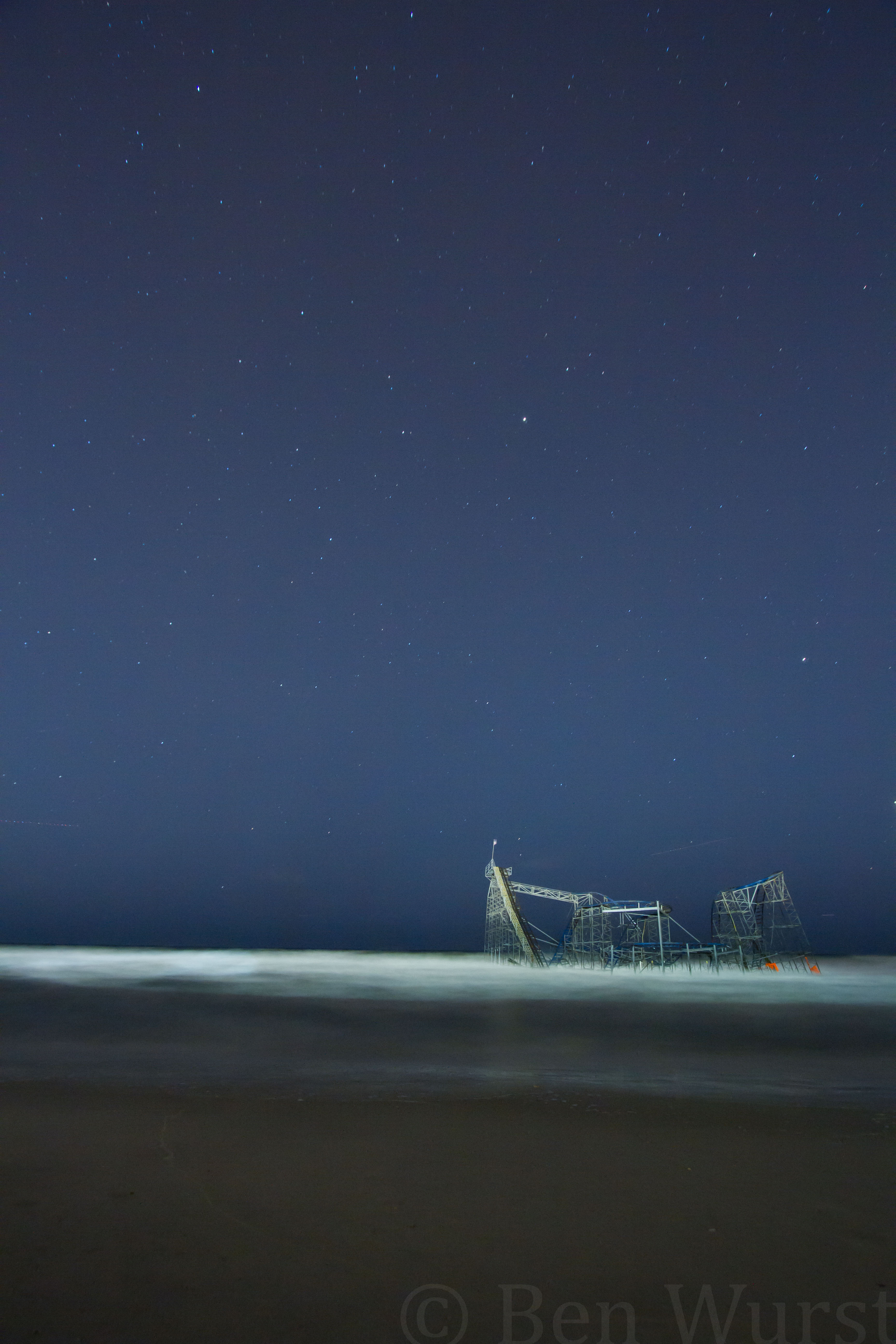 The iconic Jet Star roller coaster awaits removal from the Atlantic Ocean.