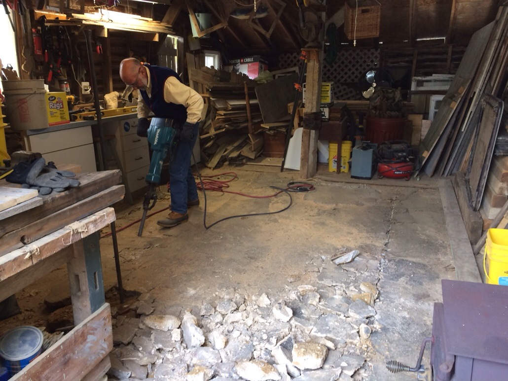 Tearing out my old concrete floor in my shop. Not exactly a creative project, but one that needed to be done for the biz. Plus I got to spend some quality time with my dad, who unfortunately passed away this past November. Love ya, dad.