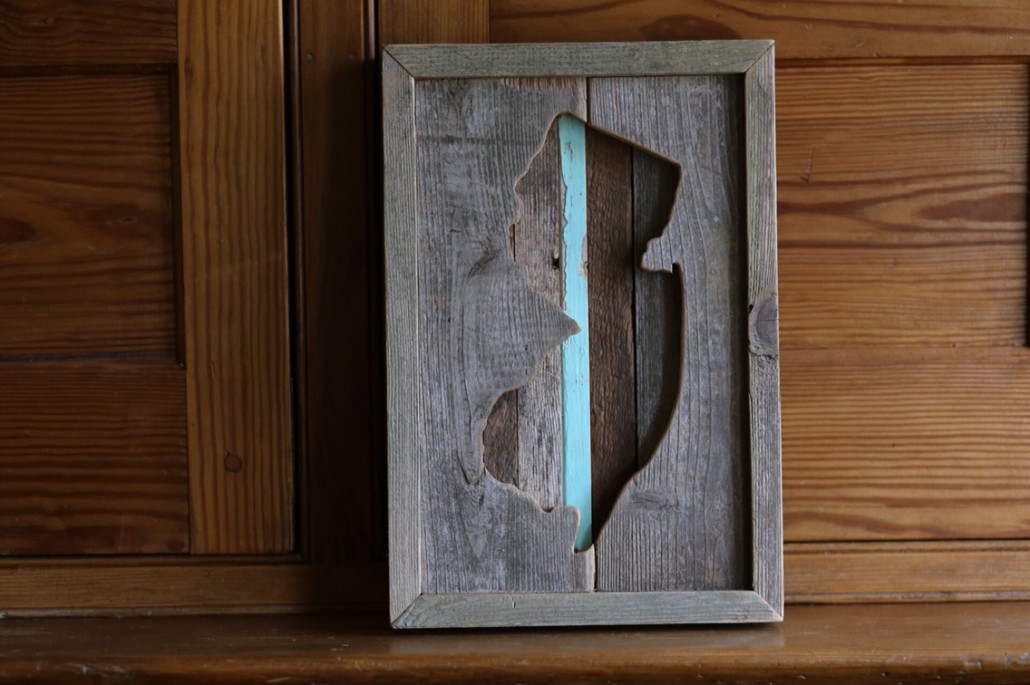"""My third inverse Jersey cutout. Made from reclaimed cedar. Size of this one is approx 13x9""""."""